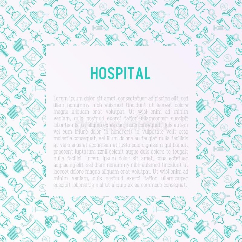 Έννοια νοσοκομείων με τα λεπτά εικονίδια γραμμών απεικόνιση αποθεμάτων