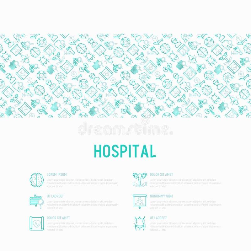 Έννοια νοσοκομείων με τα λεπτά εικονίδια γραμμών ελεύθερη απεικόνιση δικαιώματος