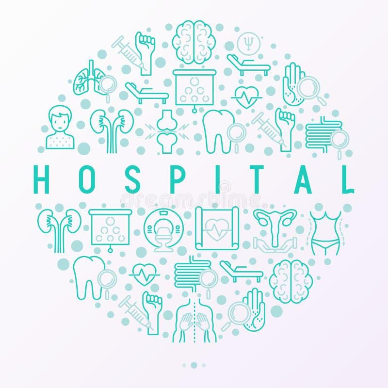 Έννοια νοσοκομείων στον κύκλο με τα λεπτά εικονίδια γραμμών για του γιατρού όχι ελεύθερη απεικόνιση δικαιώματος