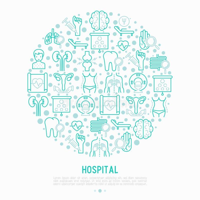 Έννοια νοσοκομείων στον κύκλο με τα λεπτά εικονίδια γραμμών απεικόνιση αποθεμάτων