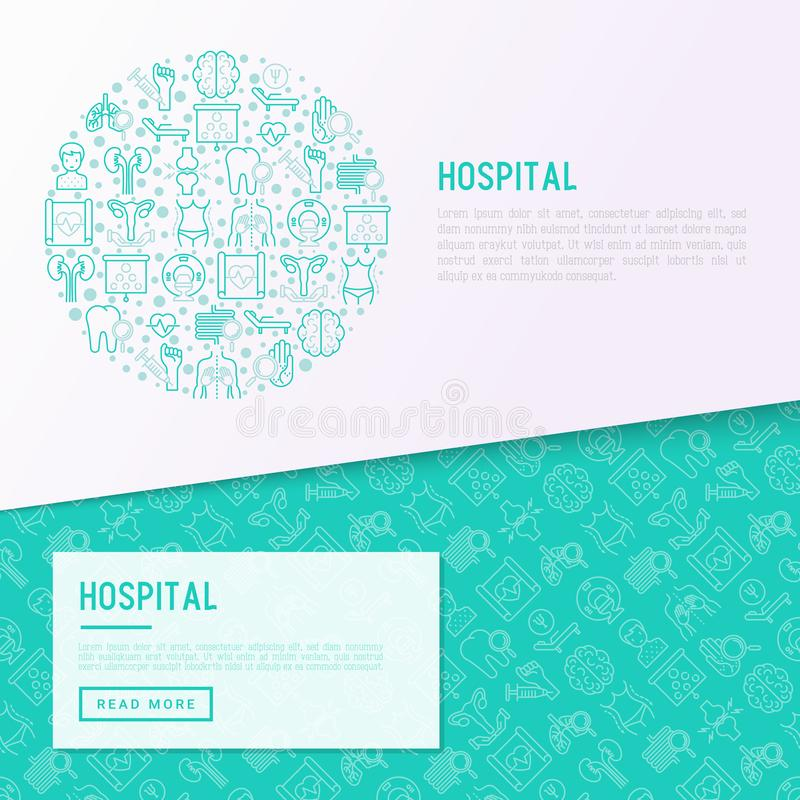 Έννοια νοσοκομείων στον κύκλο με τα λεπτά εικονίδια γραμμών διανυσματική απεικόνιση