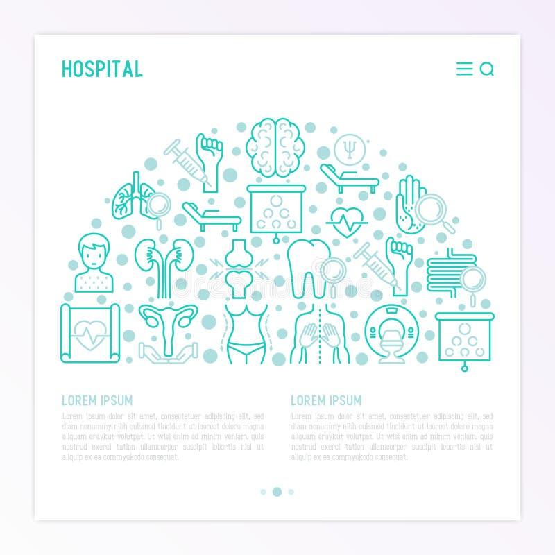 Έννοια νοσοκομείων στο μισό κύκλο απεικόνιση αποθεμάτων