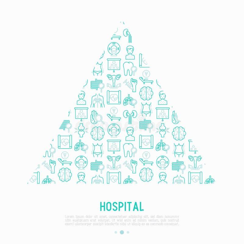 Έννοια νοσοκομείων στο τρίγωνο με τα λεπτά εικονίδια γραμμών ελεύθερη απεικόνιση δικαιώματος