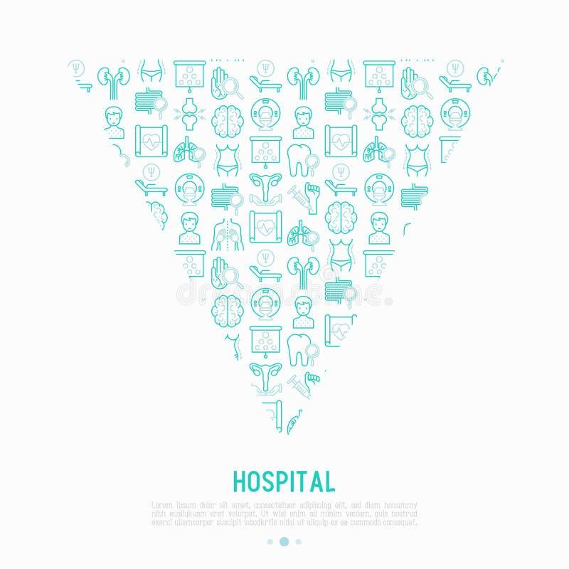 Έννοια νοσοκομείων στο τρίγωνο με τα λεπτά εικονίδια γραμμών απεικόνιση αποθεμάτων