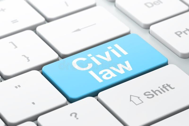 Έννοια νόμου: Αστικό δίκαιο στο πληκτρολόγιο υπολογιστών απεικόνιση αποθεμάτων