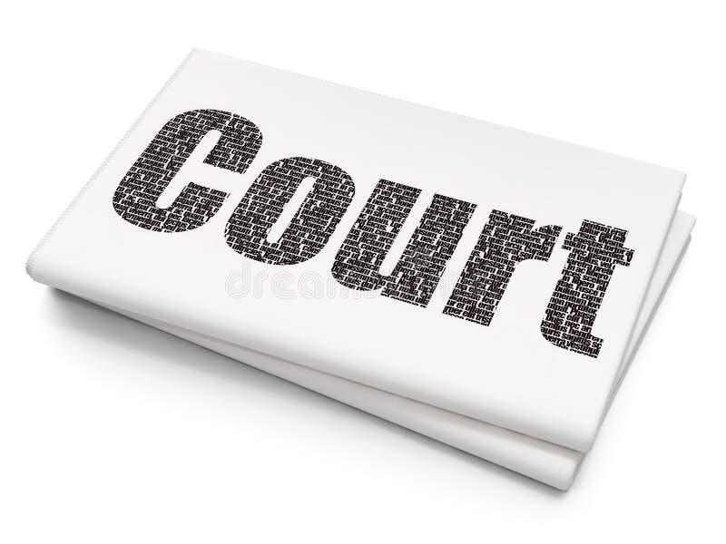 Έννοια νόμου: Δικαστήριο στο κενό υπόβαθρο εφημερίδων διανυσματική απεικόνιση