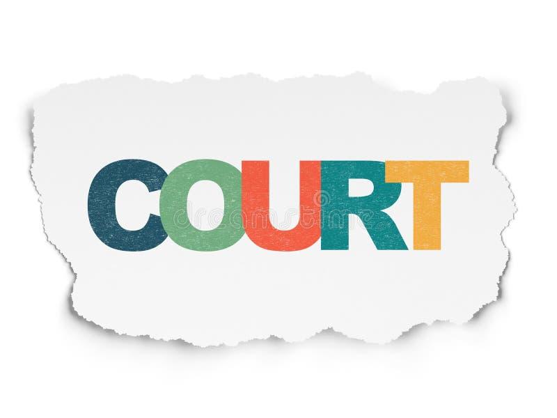 Έννοια νόμου: Δικαστήριο στο σχισμένο υπόβαθρο εγγράφου διανυσματική απεικόνιση
