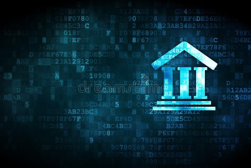 Έννοια νόμου: Δικαστήριο στο ψηφιακό υπόβαθρο ελεύθερη απεικόνιση δικαιώματος