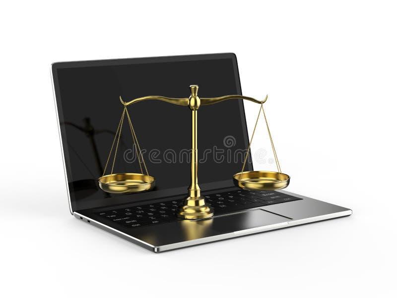 Έννοια νόμου Cyber ή νόμου Διαδικτύου διανυσματική απεικόνιση