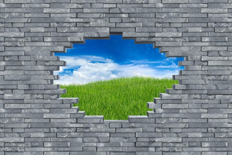 Έννοια ξεμπλοκαρίσματος τρυπών τοίχων πετρών πλακών στοκ φωτογραφία με δικαίωμα ελεύθερης χρήσης