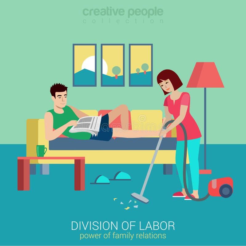 Έννοια οικιακών επίπεδη διανυσματική οικογενειών: κενός καθαρός γυναικών διανυσματική απεικόνιση