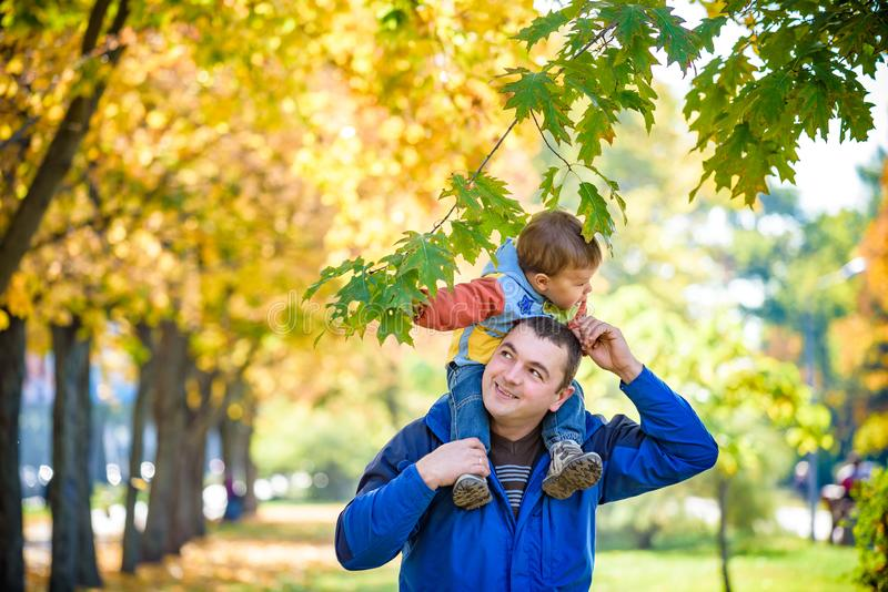 Έννοια οικογένειας, παιδικής ηλικίας και πατρότητας ευτυχής φέρνοντας γιος πατέρων με τα φύλλα σφενδάμου πέρα από το υπόβαθρο πάρ στοκ φωτογραφία με δικαίωμα ελεύθερης χρήσης