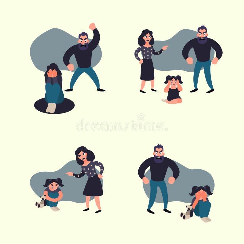 Έννοια οικογενειακής βίας Καταστάσεις οικογενειακής σύγκρουσης ανεπαρκής συμπεριφορά διανυσματική απεικόνιση