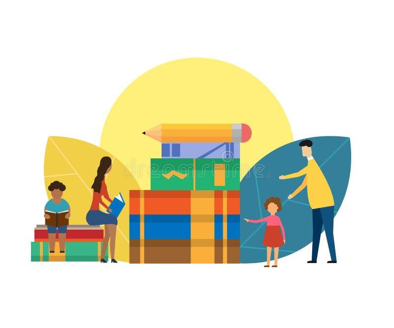 Έννοια οικογενειακής εκπαίδευσης που απομονώνεται στο άσπρο υπόβαθρο r απεικόνιση αποθεμάτων
