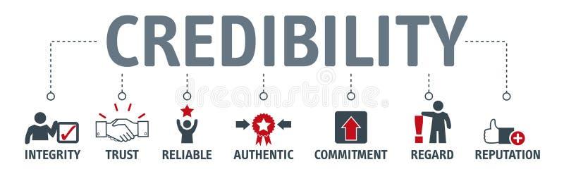 Έννοια οικοδόμησης αξιοπιστίας Έμβλημα με τις λέξεις κλειδιά και το διανυσματικό IL διανυσματική απεικόνιση