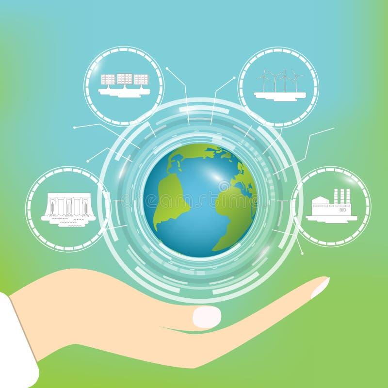 έννοια οικολογική Συντήρηση του πλανήτη με τις νέες τεχνολογίες και εναλλακτικές πηγές της ενέργειας ελεύθερη απεικόνιση δικαιώματος