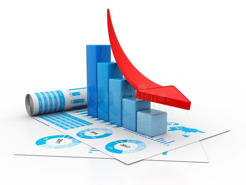 Έννοια οικονομικής κρίσης, οικονομική κρίση Επιχειρησιακή πτώση, τρισδιάστατη απόδοση απεικόνιση αποθεμάτων