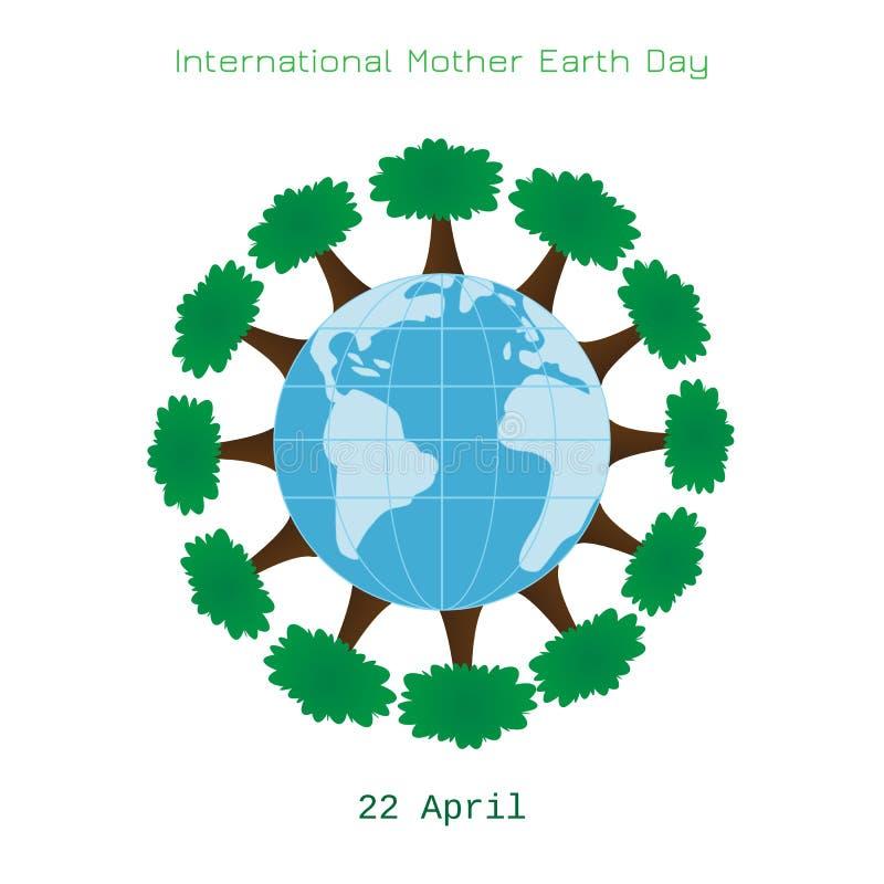Έννοια οικολογίας με τη γη και τα δέντρα ελεύθερη απεικόνιση δικαιώματος