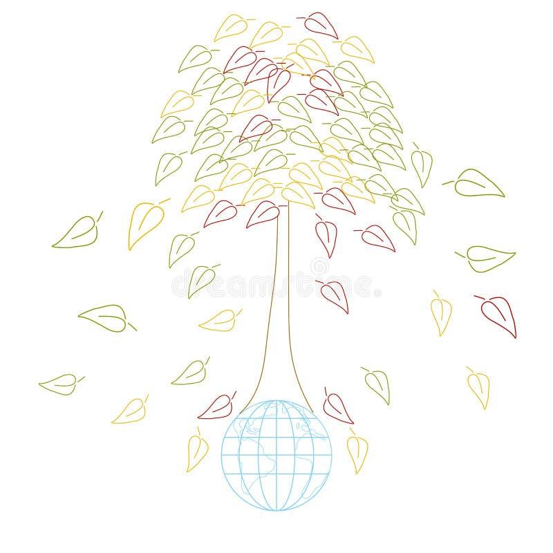Έννοια οικολογίας με τη γη και tres απεικόνιση αποθεμάτων