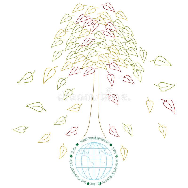 Έννοια οικολογίας με τη γη και tres ελεύθερη απεικόνιση δικαιώματος