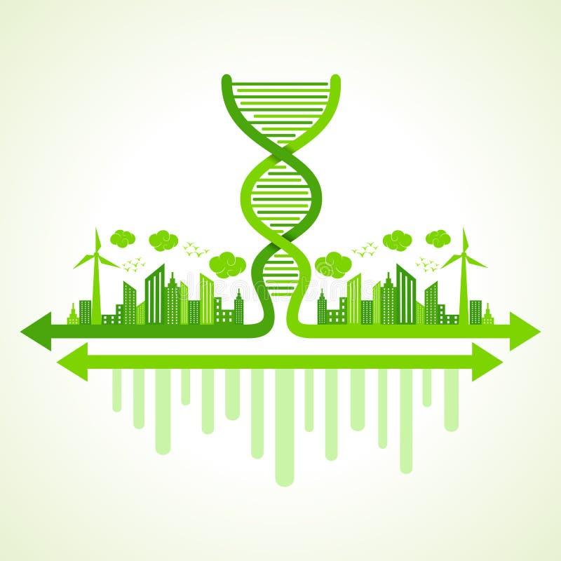 Έννοια οικολογίας με το σκέλος DNA απεικόνιση αποθεμάτων