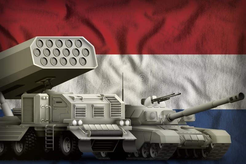 Έννοια ολλανδικών βαριά στρατιωτική τεθωρακισμένων οχημάτων στο υπόβαθρο εθνικών σημαιών τρισδιάστατη απεικόνιση απεικόνιση αποθεμάτων