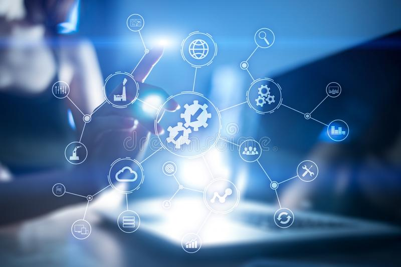 Έννοια ολοκλήρωσης Βιομηχανική και έξυπνη τεχνολογία Λύσεις επιχειρήσεων και αυτοματοποίησης στοκ εικόνα