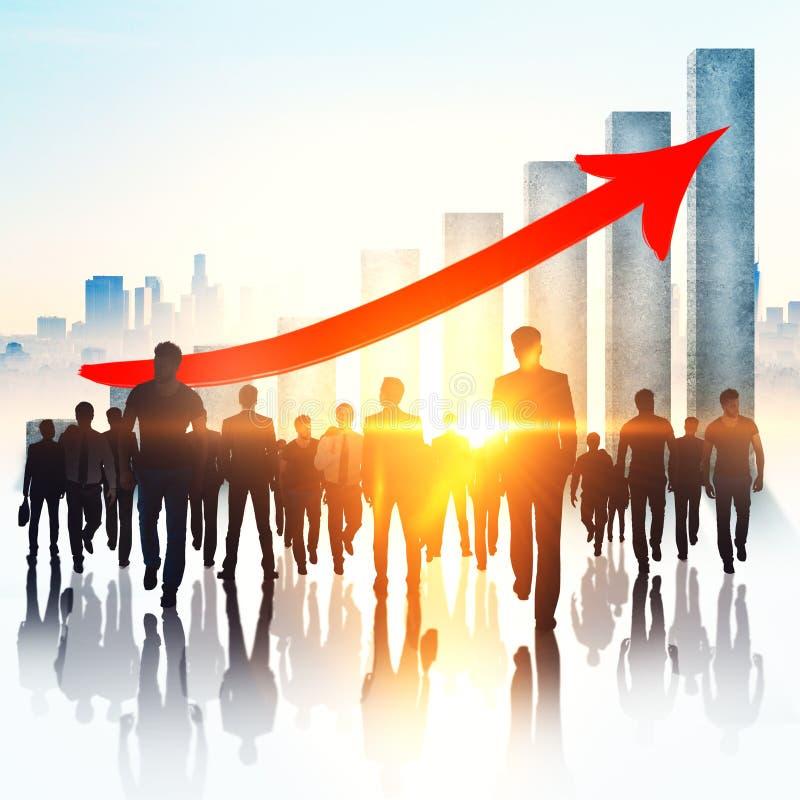Έννοια ομαδικής εργασίας, αύξησης και απασχόλησης διανυσματική απεικόνιση