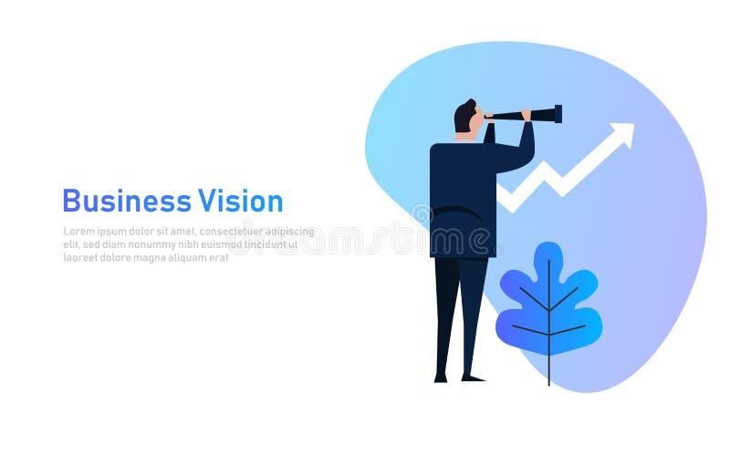 Έννοια οράματος και αύξησης Ο επιχειρηματίας κοιτάζει μέσω ενός τηλεσκοπίου στο βέλος αύξησης Απεικόνιση κινούμενων σχεδίων επιχε απεικόνιση αποθεμάτων