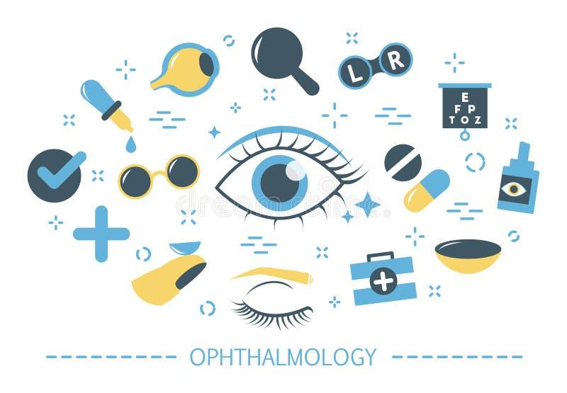 Έννοια οφθαλμολογίας Ιδέα της προσοχής και του οράματος ματιών ελεύθερη απεικόνιση δικαιώματος