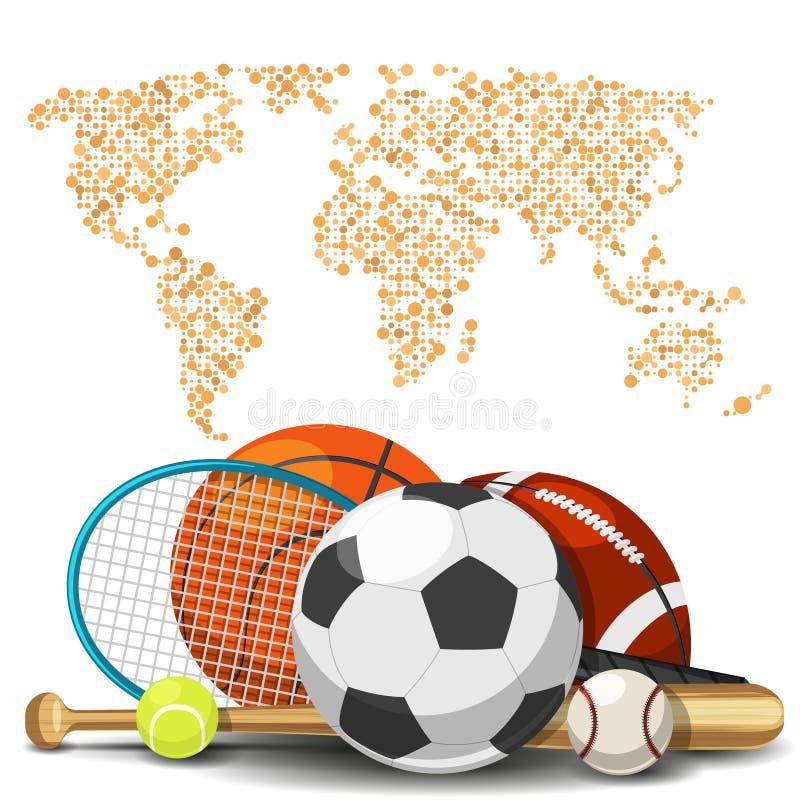 Έννοια παγκόσμιου αθλητισμού deportes Αθλητικός εξοπλισμός με το υπόβαθρο χαρτών ελεύθερη απεικόνιση δικαιώματος