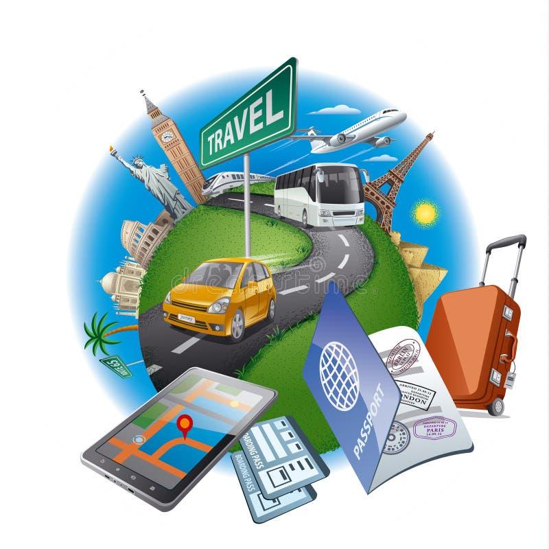 Έννοια παγκόσμιου ταξιδιού απεικόνιση αποθεμάτων
