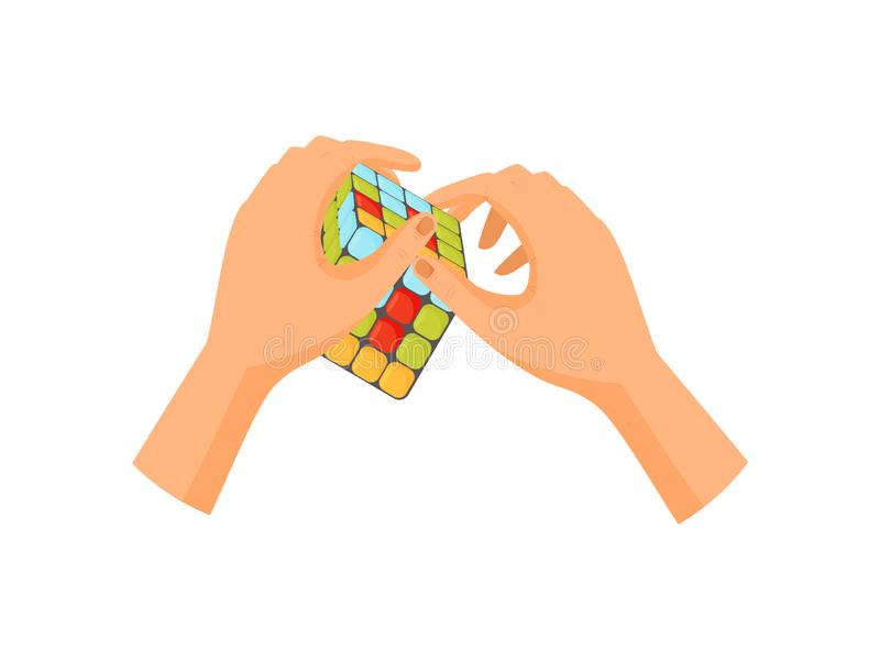 Έννοια παιχνιδιών κύβων Rubiks Διασκέδαση και παιχνίδι απεικόνιση αποθεμάτων