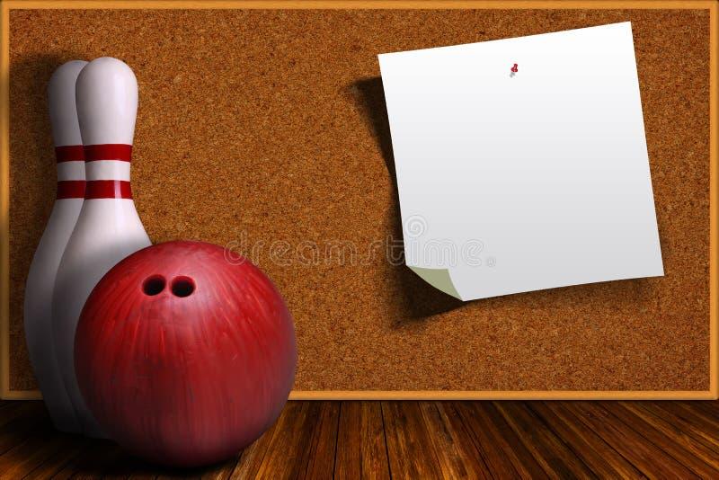 Έννοια παιχνιδιών με τον εξοπλισμό μπόουλινγκ και τον πίνακα του Κορκ απεικόνιση αποθεμάτων
