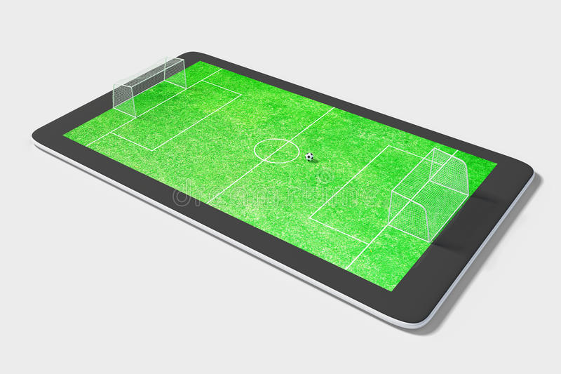 Έννοια παιχνιδιών Onlie με την ψηφιακούς ταμπλέτα και το αγωνιστικό χώρο ποδοσφαίρου στοκ φωτογραφία με δικαίωμα ελεύθερης χρήσης