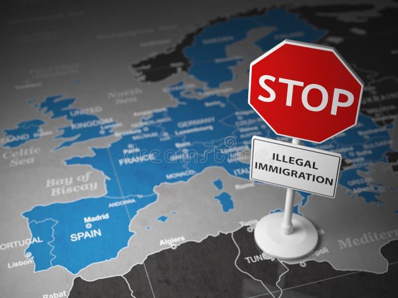 Έννοια παράνομης μετανάστευσης στάσεων Στάση σημαδιών στο χάρτη της Ευρώπης διανυσματική απεικόνιση
