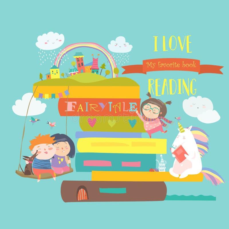 Έννοια παραμυθιού με το βιβλίο, το μονόκερο και τα παιδιά ελεύθερη απεικόνιση δικαιώματος
