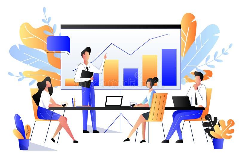 Έννοια παρουσίασης προγράμματος Διανυσματική επίπεδη απεικόνιση ύφους Άνθρωποι στην επιχειρησιακή συνεδρίαση ή τη διάσκεψη μάρκετ ελεύθερη απεικόνιση δικαιώματος