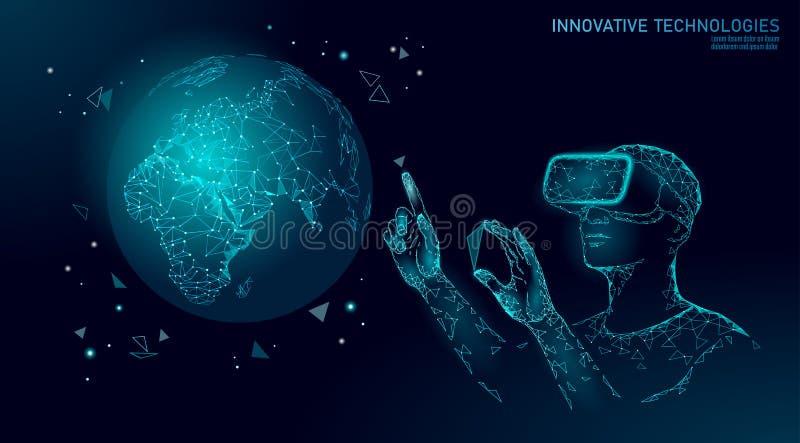 Έννοια πλανήτη Γη οικολογίας επιστήμης VR ολογραφικά γυαλιά εικονικής πραγματικότητας προβολής κασκών Φουτουριστική έρευνα διανυσματική απεικόνιση