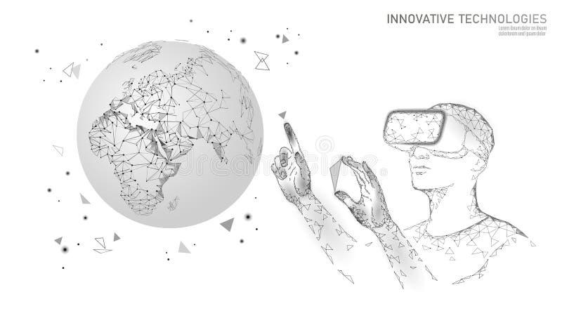 Έννοια πλανήτη Γη οικολογίας επιστήμης VR ολογραφικά γυαλιά εικονικής πραγματικότητας προβολής κασκών Φουτουριστική έρευνα ελεύθερη απεικόνιση δικαιώματος