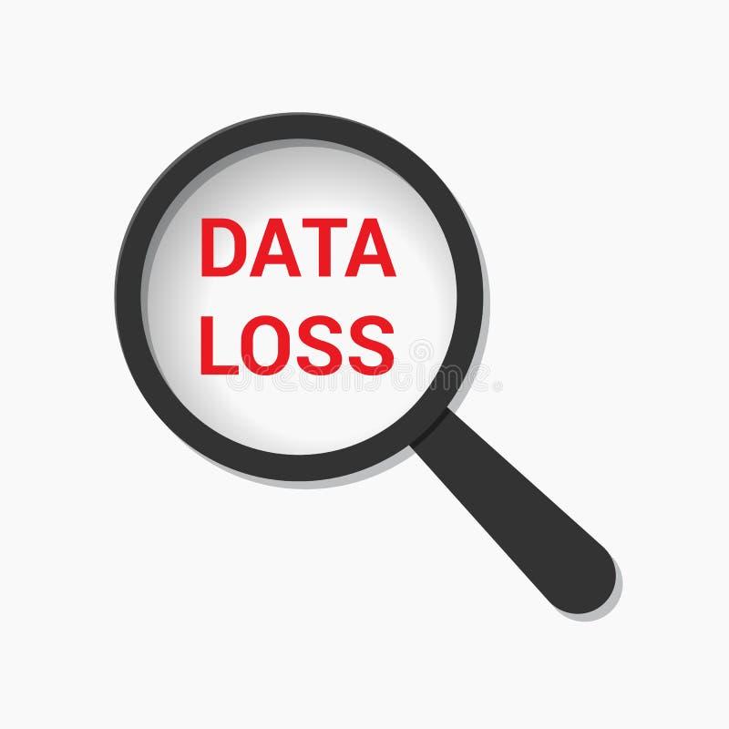 Έννοια πληροφοριών: Ενίσχυση του οπτικού γυαλιού με την απώλεια στοιχείων λέξεων διανυσματική απεικόνιση