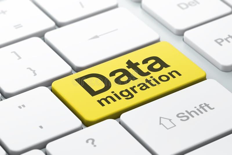 Έννοια πληροφοριών: Μετανάστευση στοιχείων στο υπόβαθρο πληκτρολογίων υπολογιστών απεικόνιση αποθεμάτων