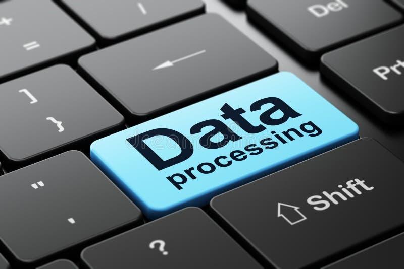 Έννοια πληροφοριών: Στοιχεία - επεξεργασία στο υπόβαθρο πληκτρολογίων υπολογιστών απεικόνιση αποθεμάτων