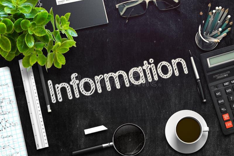 Έννοια πληροφοριών στο μαύρο πίνακα κιμωλίας τρισδιάστατη απόδοση απεικόνιση αποθεμάτων