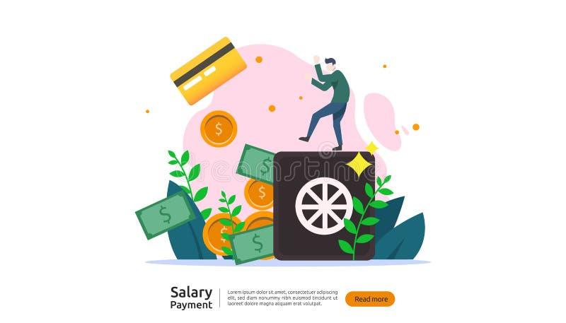 έννοια πληρωμής μισθών Μισθοδοτική κατάσταση, ετήσιο επίδομα, εισόδημα, πληρωμή με τον υπολογιστή εγγράφου και χαρακτήρας ανθρώπω απεικόνιση αποθεμάτων