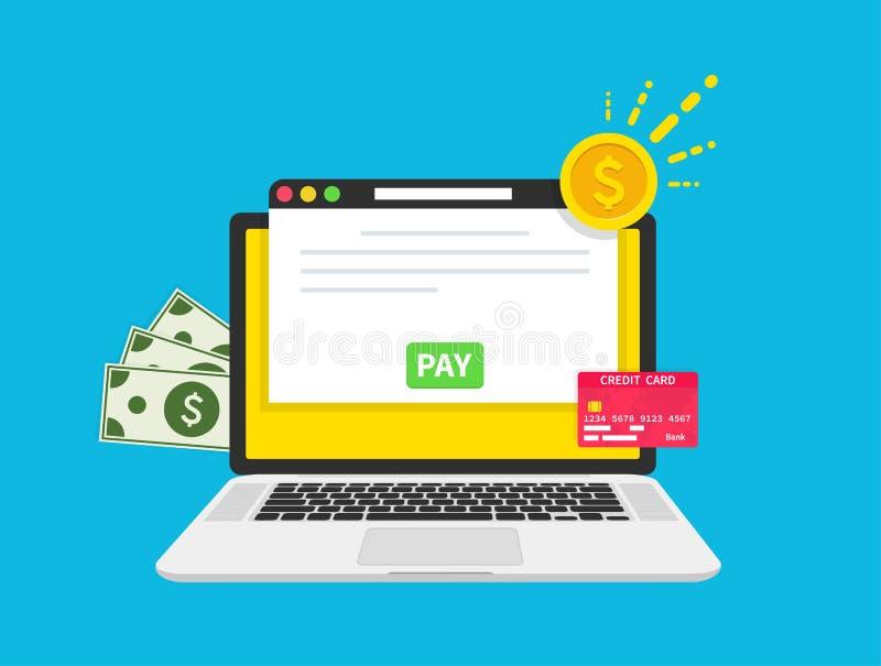 Έννοια πληρωμής Πληρωμή υπολογιστών Δολάρια, νόμισμα, κάρτα Λογαριασμός αμοιβής, οικονομική λογιστική, ηλεκτρονική ανακοίνωση πλη απεικόνιση αποθεμάτων