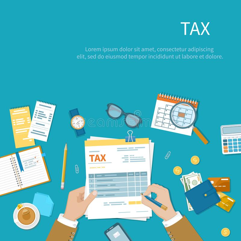 Έννοια πληρωμής φορολογικού υπολογισμού Ο επιχειρηματίας γεμίζει τη μορφή φορολογίας ελεύθερη απεικόνιση δικαιώματος