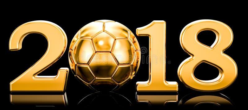 Έννοια ποδοσφαίρου 2018 με τη χρυσή σφαίρα ποδοσφαίρου τρισδιάστατη απόδοση απεικόνιση αποθεμάτων