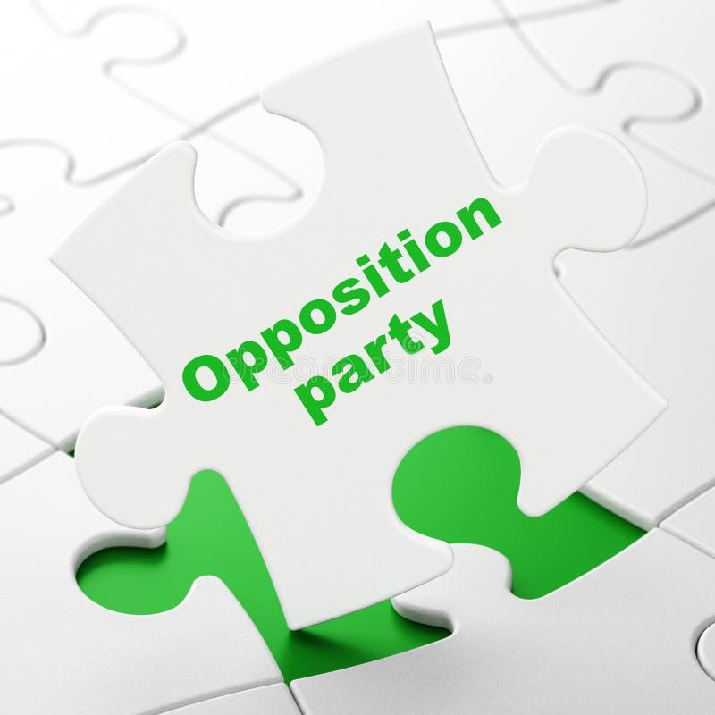 Έννοια πολιτικής: Κόμμα αντίθεσης στο υπόβαθρο γρίφων απεικόνιση αποθεμάτων