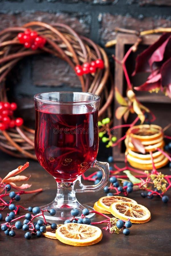 Έννοια ποτών φθινοπώρου Θερμαμένη κρασί, μηλίτης ή διάτρηση στοκ εικόνες με δικαίωμα ελεύθερης χρήσης